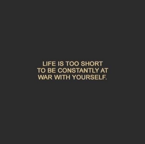 Life Is Too Short To: LIFE IS TOO SHORT  TO BE CONSTANTLY AT  WAR WITH YOURSELF.