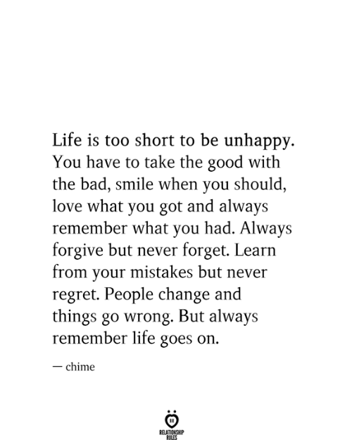 always remember: Life is too short to be unhappy  You have to take the good with  the bad, smile when you should,  love what you got and always  remember what you had. Always  forgive but never forget. Learn  from your mistakes but never  regret. People change and  things go wrong. But always  remember life goes on.  -chime  RELATIONSHIP  RILES