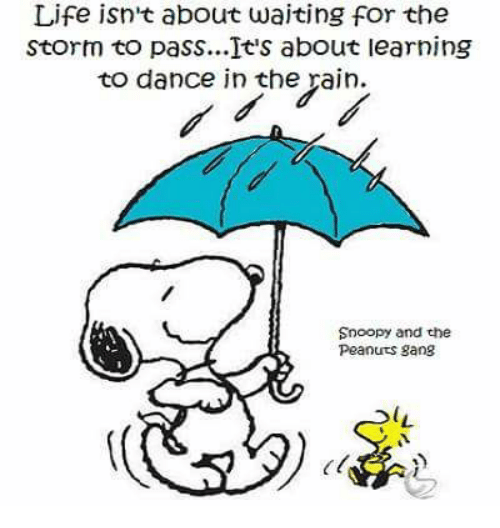 dancing in the rain: Life isn't about waiting for the  Storm to pass...It's about learning  to dance in the rain.  Snoopy and the  Peanuts gang