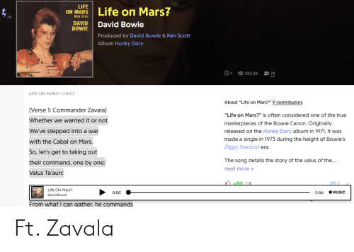 """rca: LIFE  Life on Mars?  ON MARS  RCA 2316  DAVID  BOWIE  David Bowie  Produced by David Bowie & Ken Scott  Album Hunky Dory  O 352.5K  으 74  LIFE ON MARS? LYRICS  About """"Life on Mars?"""" 9 contributors  [Verse 1: Commander Zavala]  """"Life on Mars?"""" is often considered one of the true  Whether we wanted it or not  masterpieces of the Bowie Canon. Originally  We've stepped into a war  released on the Hunky Dory album in 1971, it was  made a single in 1973 during the height of Bowie's  with the Cabal on Mars.  Ziggy Stardust era.  So, let's get to taking out  The song details the story of the valus of the...  their command, one by one:  read more »  Valus Ta'aurc  Life On Mars?  MUSIC  0:00  -3:56  David Bowie  From what I can gather, he commands Ft. Zavala"""