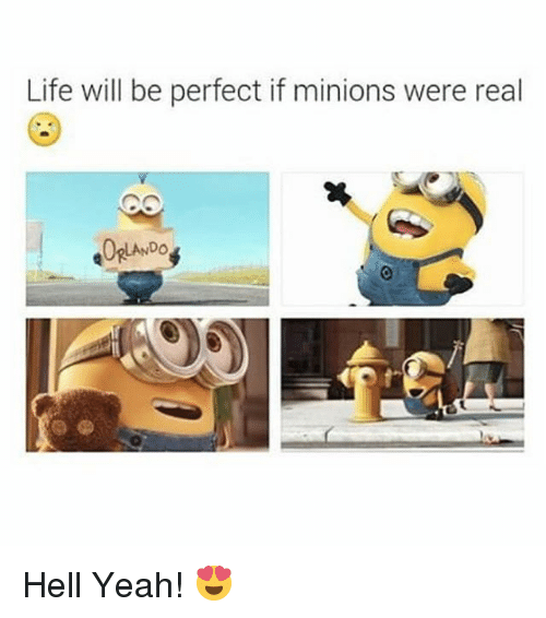 Life: Life will be perfect if minions were real  LANDO Hell Yeah! 😍