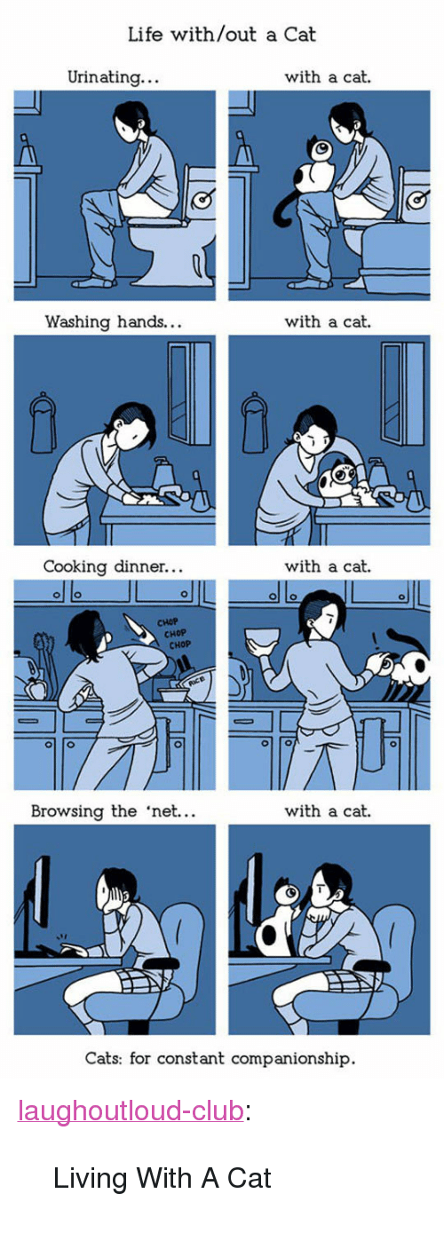 "chop chop: Life with/out a Cat  Urinating  with a cat.  Washing hands...  with a cat.  Cooking dinner...  with a cat.  CHOP  CHOP  CHOP  Browsing the 'net.  with a cat.  Cats: for constant companionship. <p><a href=""http://laughoutloud-club.tumblr.com/post/155987387119/living-with-a-cat"" class=""tumblr_blog"">laughoutloud-club</a>:</p>  <blockquote><p>Living With A Cat</p></blockquote>"