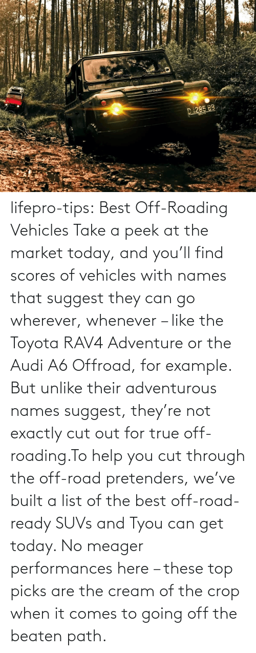 Cut: lifepro-tips: Best Off-Roading Vehicles Take a peek at the market today, and you'll find scores of vehicles with names that suggest they can go wherever, whenever – like the Toyota RAV4 Adventure or the Audi A6 Offroad, for example. But unlike their adventurous names suggest, they're not exactly cut out for true off-roading.To help you cut through the off-road pretenders, we've built a list of the best off-road-ready SUVs and Tyou can get today. No meager performances here – these top picks are the cream of the crop when it comes to going off the beaten path.