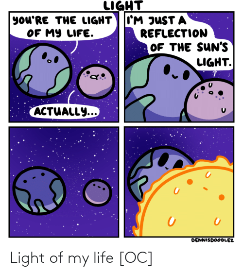 reflection: LIGHT  I'M JUST A  REFLECTION  OF THE SUN'S  LIGHT.  you'RE THE LIGHT  OF MY LIFE.  ACTUALLY...  DENNISDOODLEZ Light of my life [OC]