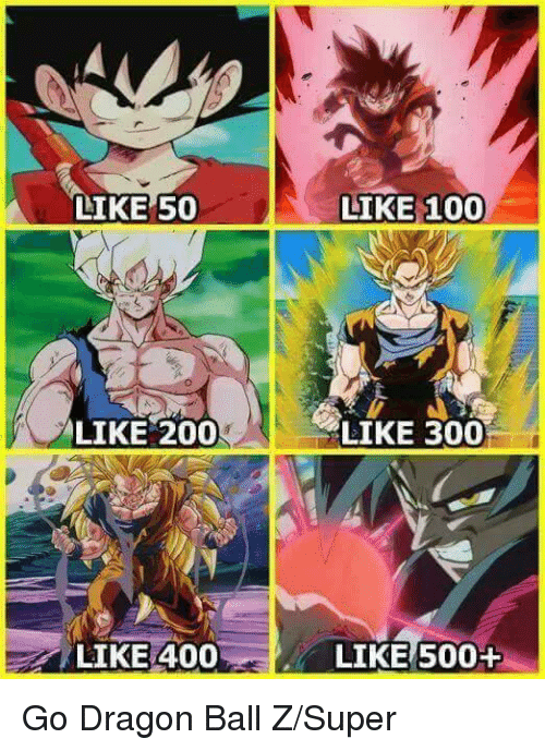 200 likes: LIKE 50  LIKE 200  LIKE 400  LIKE 1000  LIKE 300  LIKES00+ Go Dragon Ball Z/Super