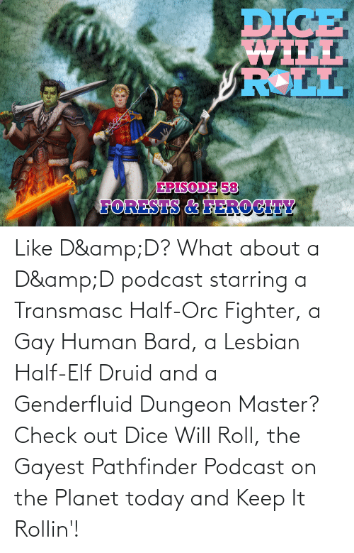 Dungeon Master: Like D&D? What about a D&D podcast starring a Transmasc Half-Orc Fighter, a Gay Human Bard, a Lesbian Half-Elf Druid and a Genderfluid Dungeon Master? Check out Dice Will Roll, the Gayest Pathfinder Podcast on the Planet today and Keep It Rollin'!