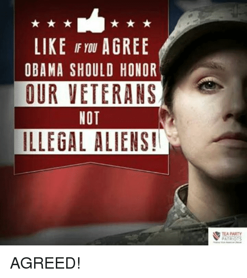 Illegalize: LIKE IF YOU  AGREE  OBAMA SHOULD HONOR  OUR VETERANS  NOT  ILLEGAL ALIENS!  TEA PARTY  PATRIOTS AGREED!