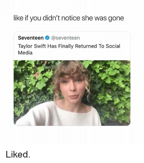 Ironic, Social Media, and Taylor Swift: like if you didn't notice she was gone  Seventeen @seventeen  Taylor Swift Has Finally Returned To Social  Media Liked.
