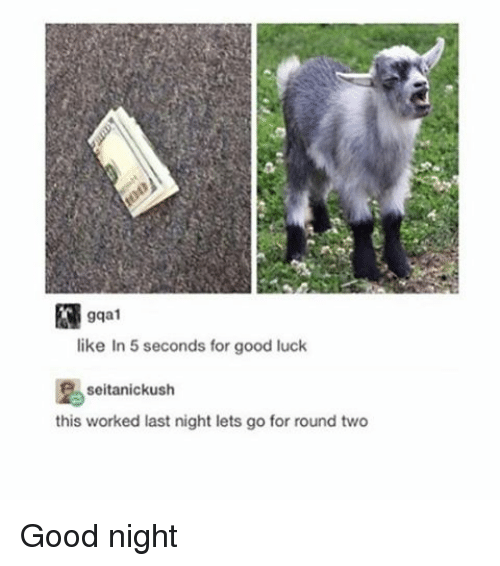 Dank Memes: like In 5 seconds for good luck  seitanickush  this worked last night lets go for round two Good night