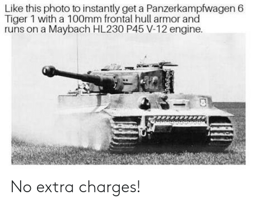 hull: Like this photo to instantly get a Panzerkampfwagen 6  Tiger 1 with a 100mm frontal hull armor and  runs on a Maybach HL230 P45 V-12 engine. No extra charges!