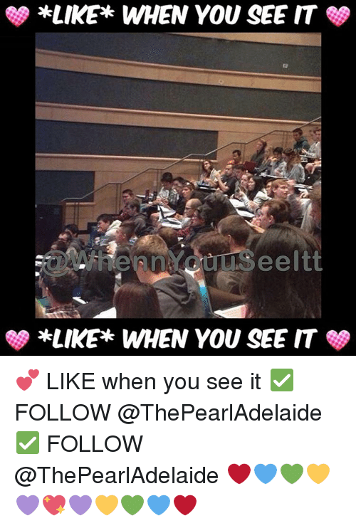 When you see it: *LIKE WHEN YOU SEE IT  *LIKER WHEN YOU SEE IT 💕 LIKE when you see it ✅ FOLLOW @ThePearlAdelaide ✅ FOLLOW @ThePearlAdelaide ❤💙💚💛💜💖💜💛💚💙❤