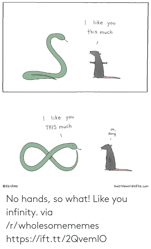 Infinity: like  you  this much  | like you  oh,  THIS much  dang  1.  thelittleworld ofliz.com  © liz climo No hands, so what! Like you infinity. via /r/wholesomememes https://ift.tt/2QvemIO