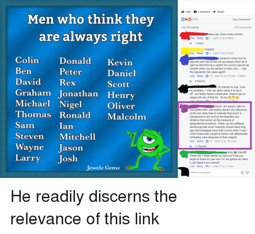 LikeCommentShare Men Who Think They Are Always Right 37K