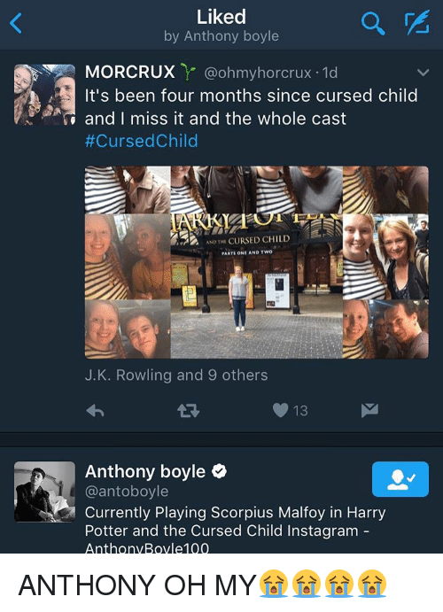 Harry Potter, Memes, and Casted: Liked  by Anthony boyle  MORR CRUX  ohmyhorcrux 1d  It's been four months since cursed child  and I miss it and the whole cast  #Cursed Child  AND THI  CURSED CHILD  PARTS ONE AND TWO  J. K. Rowling and 9 others  13  Anthony boyle  @antoboyle  Currently Playing Scorpius Malfoy in Harry  Potter and the Cursed Child Instagram  AnthonyBoyle 100 ANTHONY OH MY😭😭😭😭