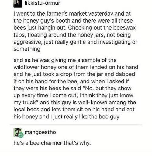 """Time, Aggressive, and Bees: likkistu-ormur  I went to the farmer's market yesterday and at  the honey guy's booth and there were all these  bees just hangin out. Checking out the beeswax  tabs, floating around the honey jars, not being  aggressive, just really gentle and investigating or  something  and as he was giving me a sample of the  wildflower honey one of them landed on his hand  and he just took a drop from the jar and dabbed  it on his hand for the bee, and when I asked if  they were his bees he said """"No, but they show  up every time I come out, I think they just know  my truck"""" and this guy is well-known among the  local bees and lets them sit on his hand and eat  his honey and I just really like the bee guy  mangoestho  he's a bee charmer that's why."""