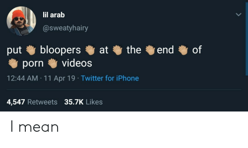 Arab: lil arab  @sweatyhairy  put bloopers at the end of  porn videos  12:44 AM 11 Apr 19 Twitter for iPhone  4,547 Retweets 35.7K Likes I mean