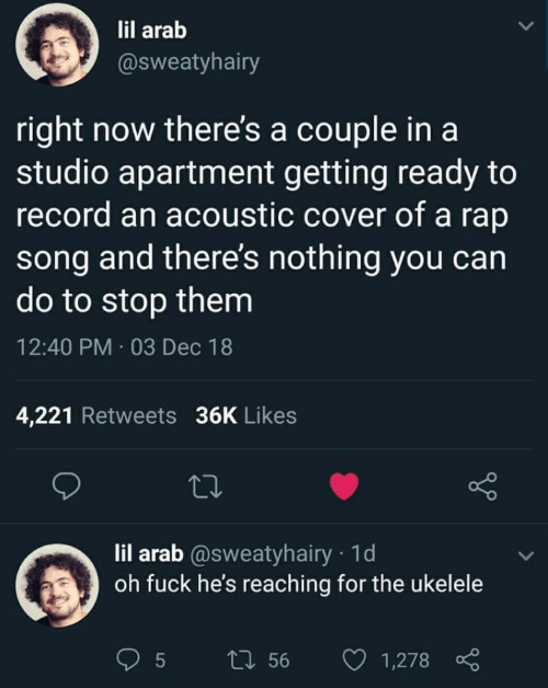 Arab: lil arab  @sweatyhairy  right now there's a couple in a  studio apartment getting ready to  record an acoustic cover of a rap  song and there's nothing you can  do to stop them  12:40 PM · 03 Dec 18  4,221 Retweets 36K Likes  27  lil arab @sweatyhairy · 1d  oh fuck he's reaching for the ukelele  27 56  1,278