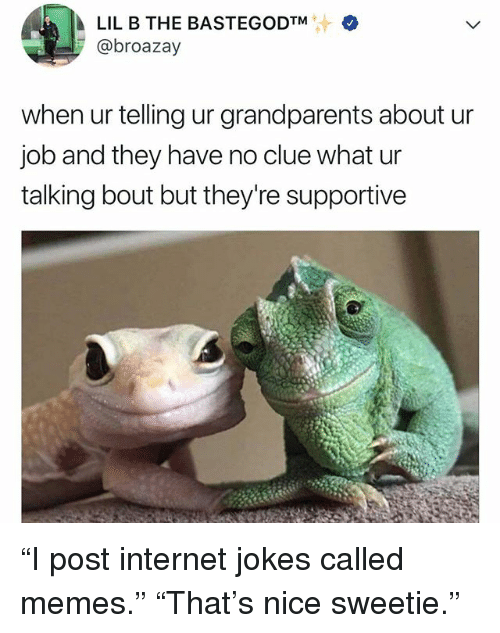 """Funny, Internet, and Lil B: LIL B THE BASTEGODTM  @broazay  when ur telling ur grandparents about ur  job and they have no clue what ur  talking bout but they're supportive """"I post internet jokes called memes."""" """"That's nice sweetie."""""""