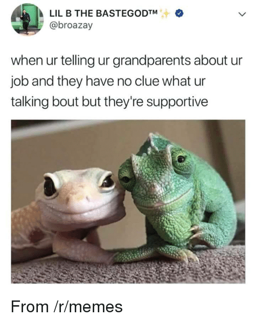Lil B, Memes, and Job: LIL B THE BASTEGODTM  @broazay  when ur telling ur grandparents about u  job and they have no clue what ur  talking bout but they're supportive <p>From /r/memes</p>