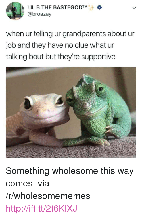 """Lil B, Http, and Wholesome: LIL B THE BASTEGODTM  @broazay  when ur telling ur grandparents about u  job and they have no clue what ur  talking bout but they're supportive <p>Something wholesome this way comes. via /r/wholesomememes <a href=""""http://ift.tt/2t6KlXJ"""">http://ift.tt/2t6KlXJ</a></p>"""