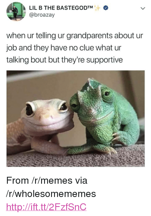 """Lil B, Memes, and Http: LIL B THE BASTEGODTM  @broazay  when ur telling ur grandparents about u  job and they have no clue what ur  talking bout but they're supportive <p>From /r/memes via /r/wholesomememes <a href=""""http://ift.tt/2FzfSnC"""">http://ift.tt/2FzfSnC</a></p>"""