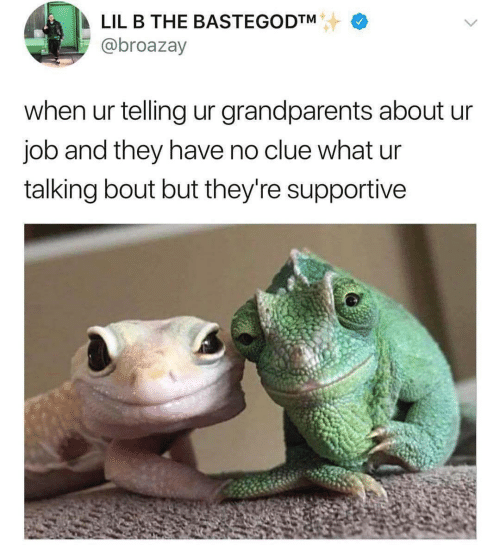 bout: LIL B THE BASTEGODTM  @broazay  when ur telling ur grandparents about ur  job and they have no clue what ur  talking bout but they're supportive
