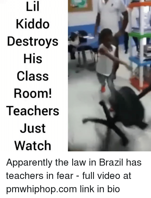 Apparently, Memes, and Brazil: Lil  Kiddo  Destroys  His  Class  Room!  Teacherss  Just  Watch Apparently the law in Brazil has teachers in fear - full video at pmwhiphop.com link in bio