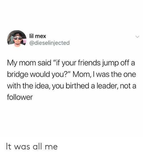 """Mex: lil mex  @dieselinjected  My mom said """"if your friends jump off a  bridge would you?"""" Mom, I was the one  with the idea, you birthed a leader, not a  follower It was all me"""