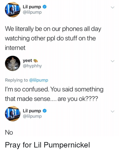 Do Stuff: Lil pump  lilpump  We literally be on our phones all day  watching other ppl do stuff on the  internet  yeet  @hyphhy  Replying to @lilpump  l'm so confused. You said something  that made sense.... are you ok????  Lil pump <  @lilpump  No Pray for Lil Pumpernickel
