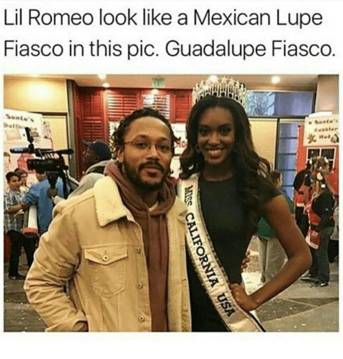 Memes, Fiasco, and Lupe: Lil Romeo look like a Mexican Lupe  Fiasco in this pic. Guadalupe Fiasco.