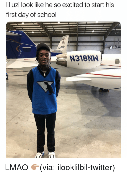 Funny, Lmao, and School: lil uzi look like he so excited to start his  first day of school  31OBN  N318NW LMAO 👉🏽(via: ilooklilbil-twitter)