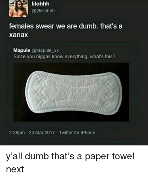 Dumb, Iphone, and Memes: lilohhh  @2klilohhh  females swear we are dumb. that's a  xanax  Mapule @Mapule xx  Since you niggas know everything, what's this?  2:38pm 23 Mar 2017 Twitter for iPhone y'all dumb that's a paper towel next