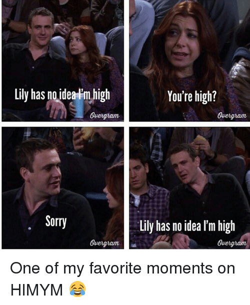 Your Highness: Lily has no idea m high  Quengnam  Sorry  You're high?  Lily has no idea lm high  Quengndm One of my favorite moments on HIMYM 😂