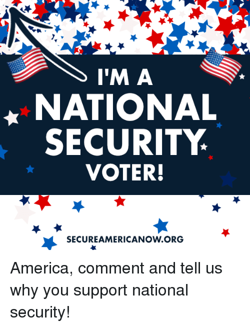 America, Conservative, and Nationalism: l'IM A  NATIONAL  SECURITY  VOTER!  SECUREAMERICANOW ORG America, comment and tell us why you support national security!