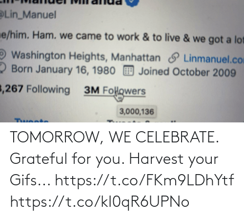 lin: Lin_Manuel  e/him. Ham. we came to work & to live & we got a lot  Washington Heights, Manhattan S Linmanuel.com  2 Born January 16, 1980 Joined October 2009  3,267 Following  3M Folowers  3,000,136  Twoote TOMORROW, WE CELEBRATE.  Grateful for you.  Harvest your Gifs... https://t.co/FKm9LDhYtf https://t.co/kI0qR6UPNo