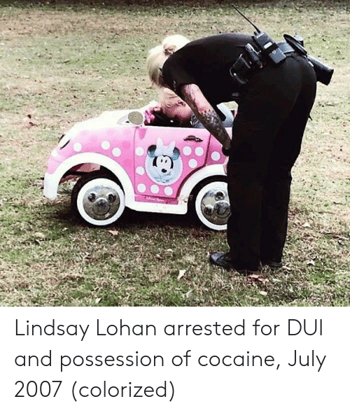 lohan: Lindsay Lohan arrested for DUI and possession of cocaine, July 2007 (colorized)