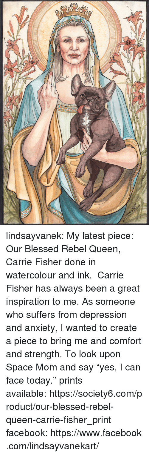 """Carrie Fisher: lindsayvanek:  My latest piece: Our Blessed Rebel Queen, Carrie Fisher done in watercolour and ink. Carrie Fisher has always been a great inspiration to me. As someone who suffers from depression and anxiety, I wanted to create a piece to bring me and comfort and strength. To look upon Space Mom and say""""yes, I can face today."""" prints available:https://society6.com/product/our-blessed-rebel-queen-carrie-fisher_print facebook:https://www.facebook.com/lindsayvanekart/"""