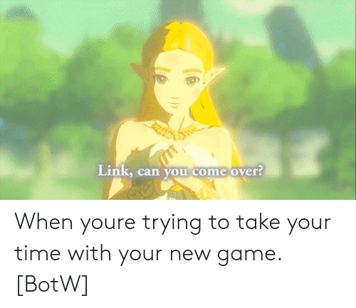 botw: Link, can you come over? When youre trying to take your time with your new game. [BotW]