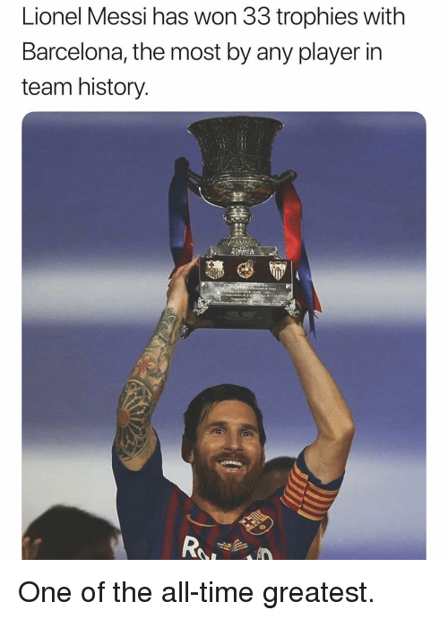 Barcelona, Soccer, and Sports: Lionel Messi has won 33 trophies with  Barcelona, the most by any player in  team history One of the all-time greatest.