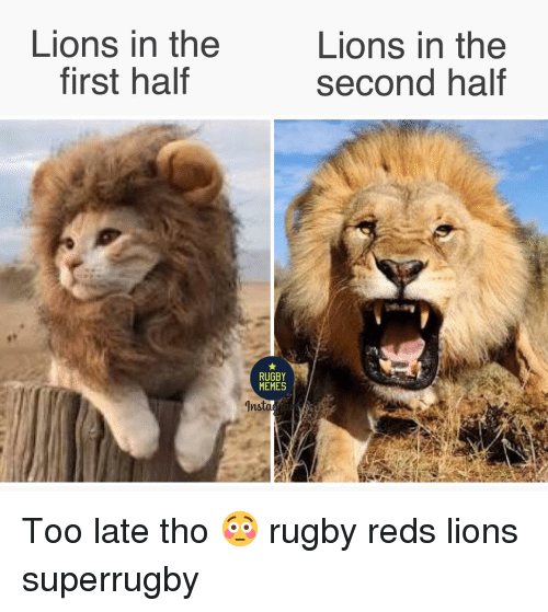 Reds: Lions in the  first haltf  Lions in the  second half  RUGBY  MEMES Too late tho 😳 rugby reds lions superrugby