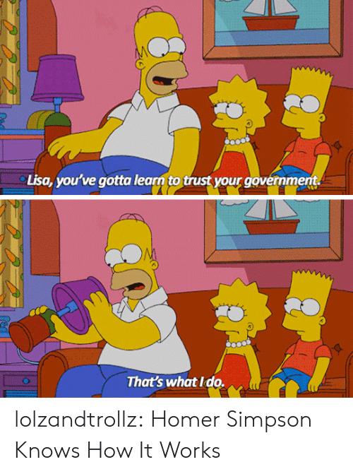 Homer: Lisa, you've gotta learn to trust your government.  That's what Ido. lolzandtrollz:  Homer Simpson Knows How It Works