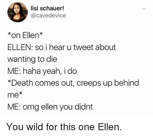 Funny, Omg, and Yeah: lisi schauer!  @cavedevice  *on Ellen*  ELLEN: so i hear utweet about  wanting to die  ME: haha yeah, i do  *Death comes out, creeps up behind  me*  ME: omg ellen you didnt You wild for this one Ellen.