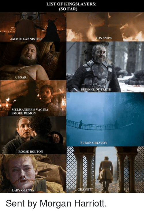 Game of Thrones, Smoking, and Jon Snow: LIST OF KINGSLAYERS:  (SO FAR)  JON SNOW  JAIMIELANNISTER  A BOAR  BRIENNE OF TARTH  MELISANDRE'S VAGINA.  SMOKE DEMON  EURON GREY JOY  ROOSE BOLTON  GRAVITY  LADY OLENNA Sent by Morgan Harriott.