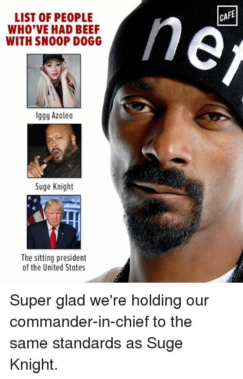 Iggy Azalea: LIST OF PEOPLE  WHO'VE HAD BEEF  WITH SNOOP DOGG  Iggy Azalea  Suge Knight  The sitting president  of the United States  CAFE Super glad we're holding our commander-in-chief to the same standards as Suge Knight.