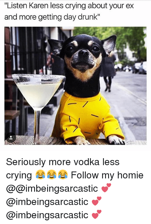 "Crying, Drunk, and Homie: ""Listen Karen less crying about your ex  and more getting day drunk"" Seriously more vodka less crying 😂😂😂 Follow my homie @@imbeingsarcastic 💕 @imbeingsarcastic 💕 @imbeingsarcastic 💕"