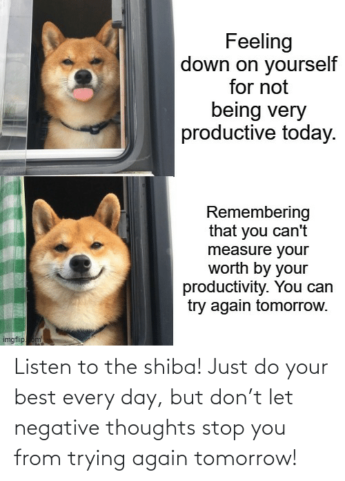 Tomorrow: Listen to the shiba! Just do your best every day, but don't let negative thoughts stop you from trying again tomorrow!