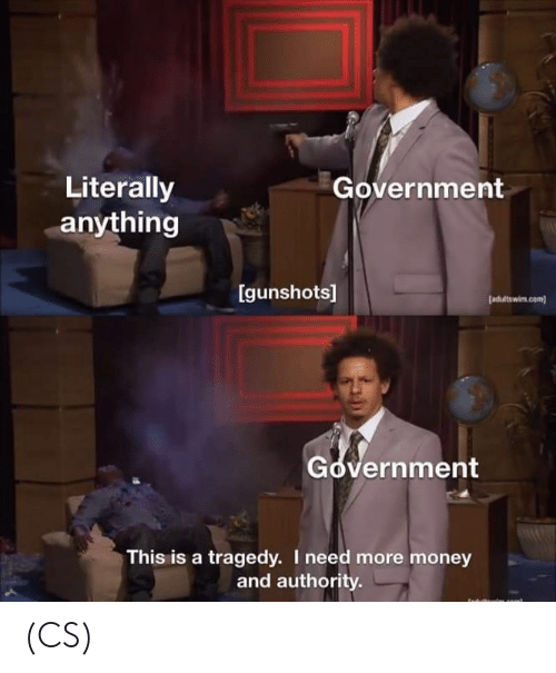 adultswim: Literally  anything  Government  Igunshots]  [adultswim com)  Government  This is a tragedy. I need more money  and authority (CS)