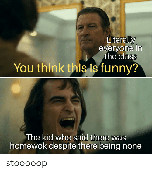 Funny, Dank Memes, and Class: Literally  everyone in  the class  You think this is funny?  The kid who said there was  homewok despite there being none stooooop