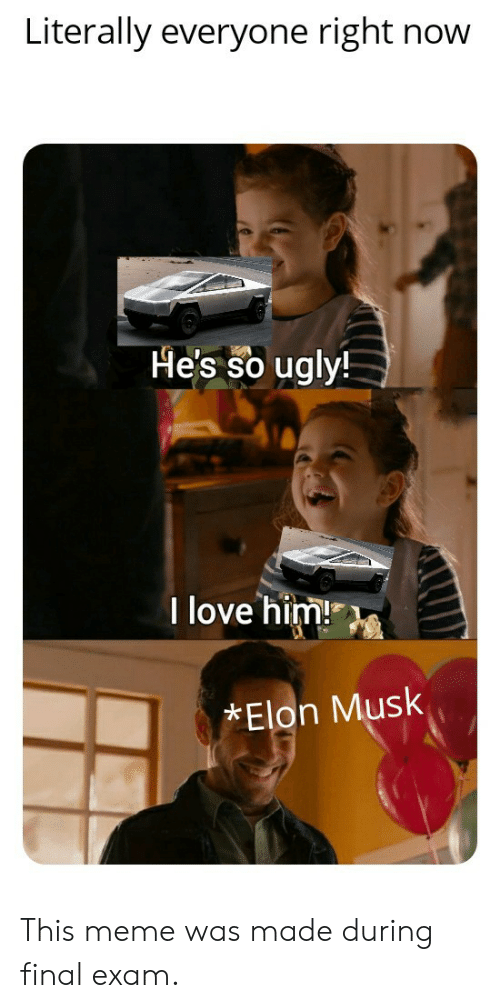 elon musk: Literally everyone right now  He's so ugly!  I love him!  Elon Musk This meme was made during final exam.