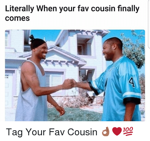 Memes, 🤖, and Cousin: Literally When your fav cousin finally  Comes Tag Your Fav Cousin 👌🏾❤💯